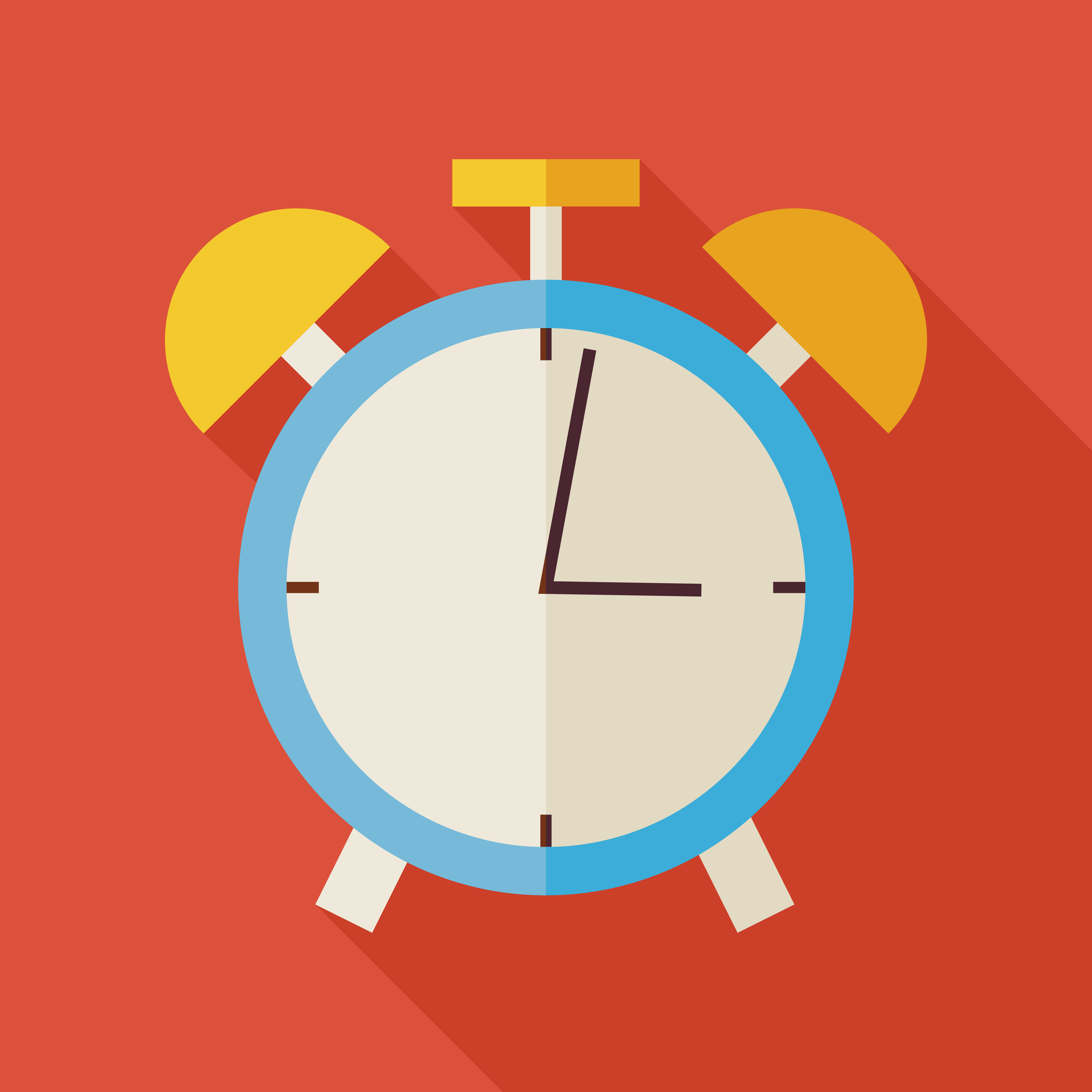 Flat Alarm Clock Illustration with long Shadow. Business Office Workplace Vector Illustration. Office Life Interior Workspace Object. Time Management. School and Education