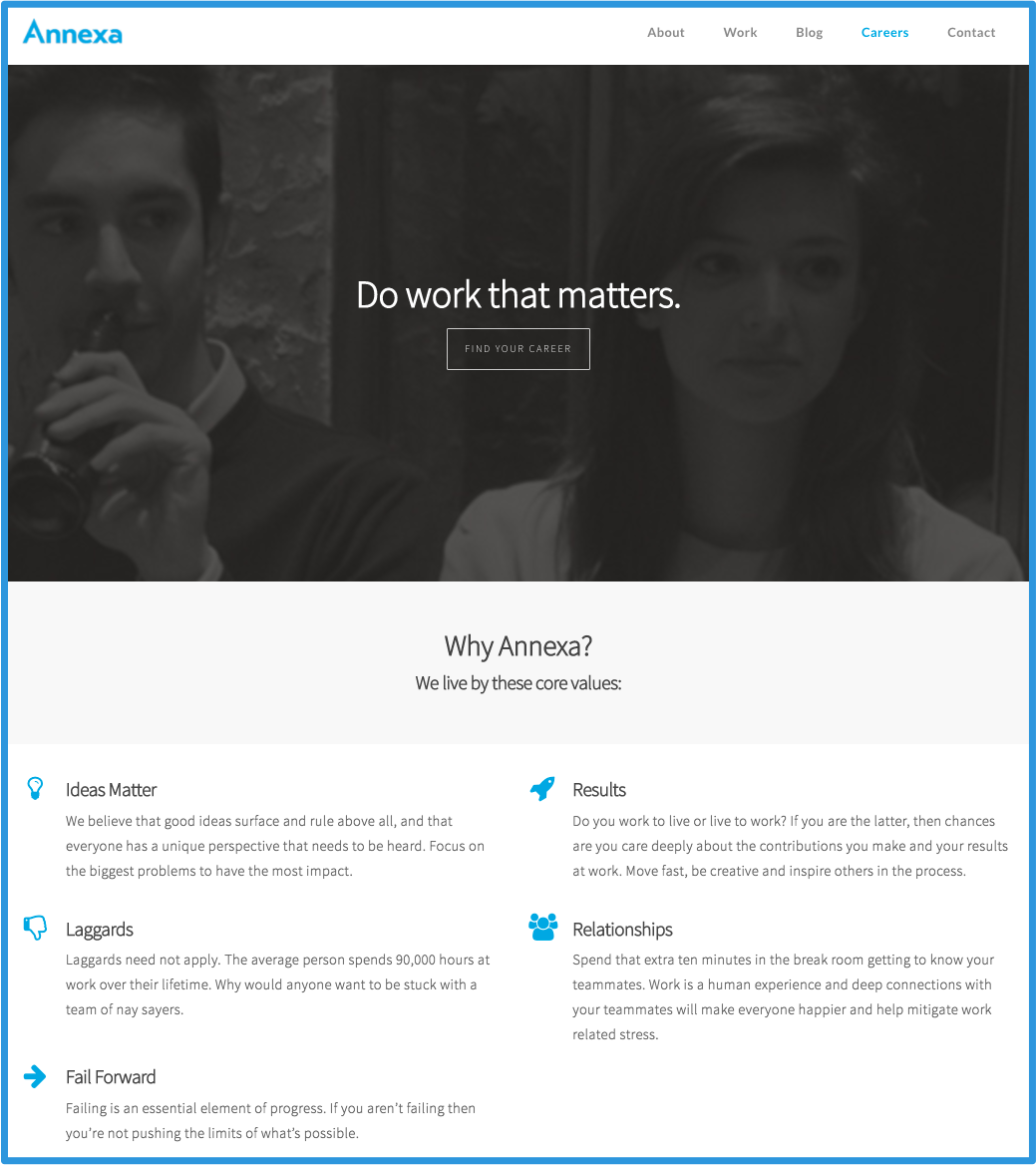 Having a bad looking careers page is one of the biggest hiring mistakes. Here is an example of a great careers page.