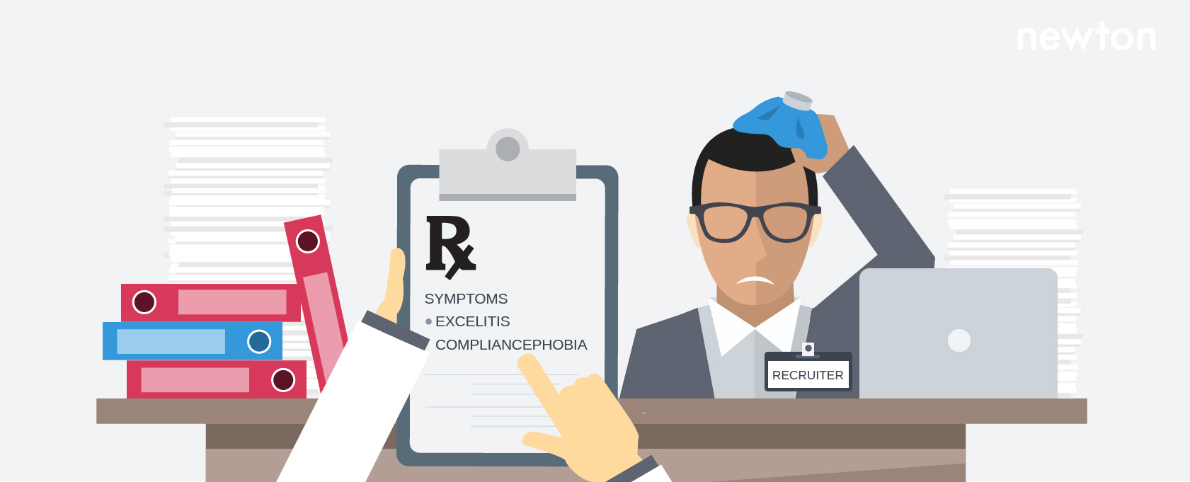 13 signs you need an ats newton software a sick recruiter sits at his desk a thermometer and an rx prescription paper calling